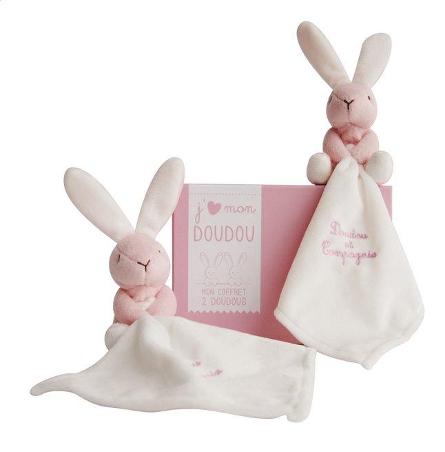 Afbeelding van Doudou et Compagnie Doudou J'aime mon doudou Duo 15 cm roze  - 2 stuks from Dreambaby