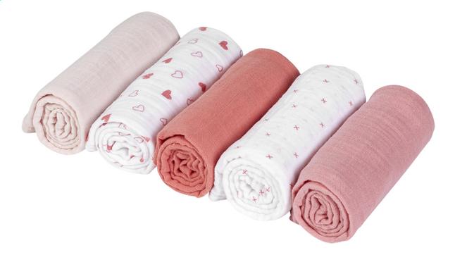Dreambee Essuie tetra Essentials coeur/croix rose foncé/rose clair - 5 pièces