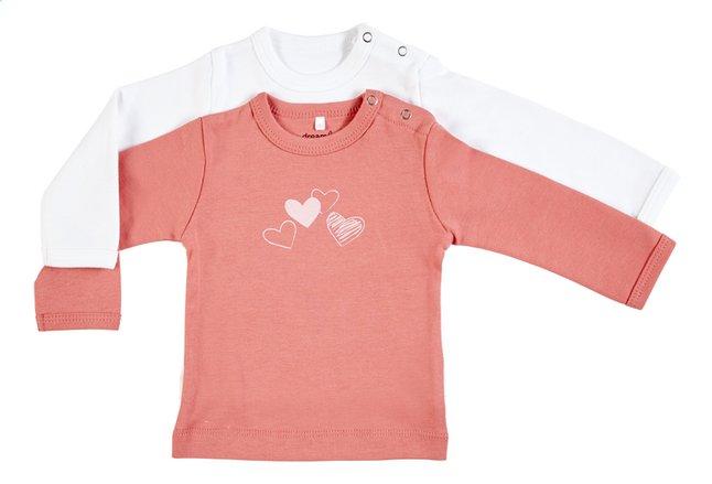 Dreambee T-shirt met lange mouwen Essentials hartje #cutie roze/wit - 2 stuks