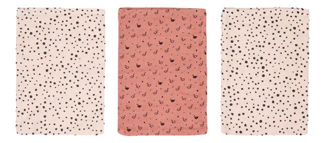 bébé-jou Washandje Fabulous Swan roze - 3 stuks