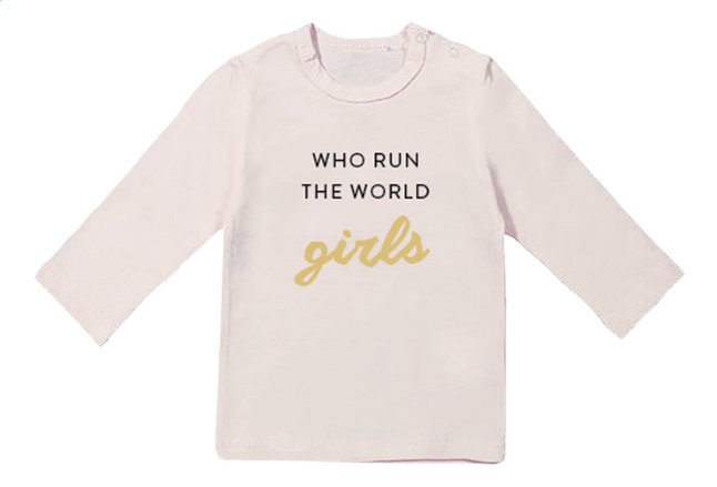 Afbeelding van Wooden Buttons T-shirt met lange mouwen Who run the world roze maat 50/56 from Dreambaby