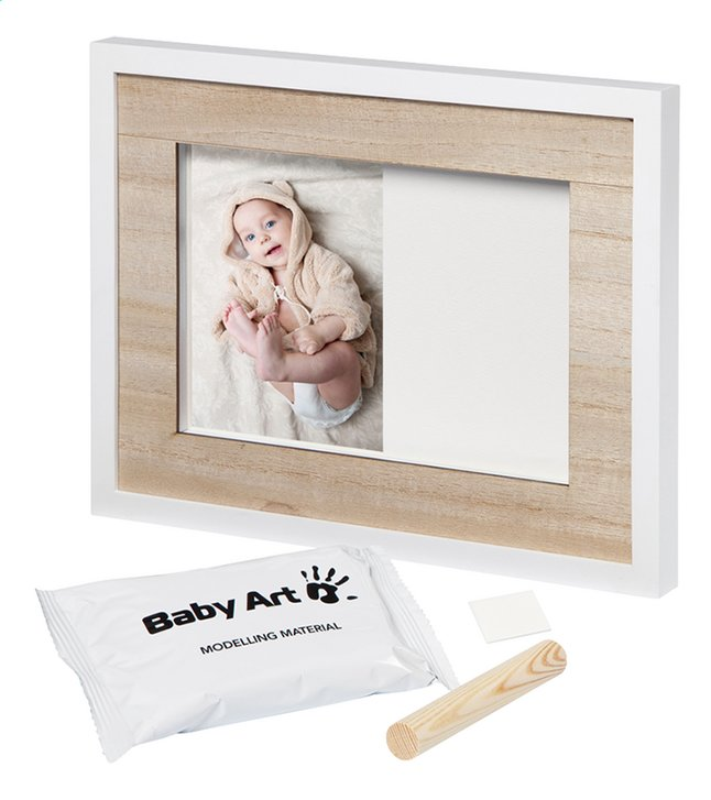 Baby Art 2-delig fotokader met gipsafdruk Tiny Style wooden line wit