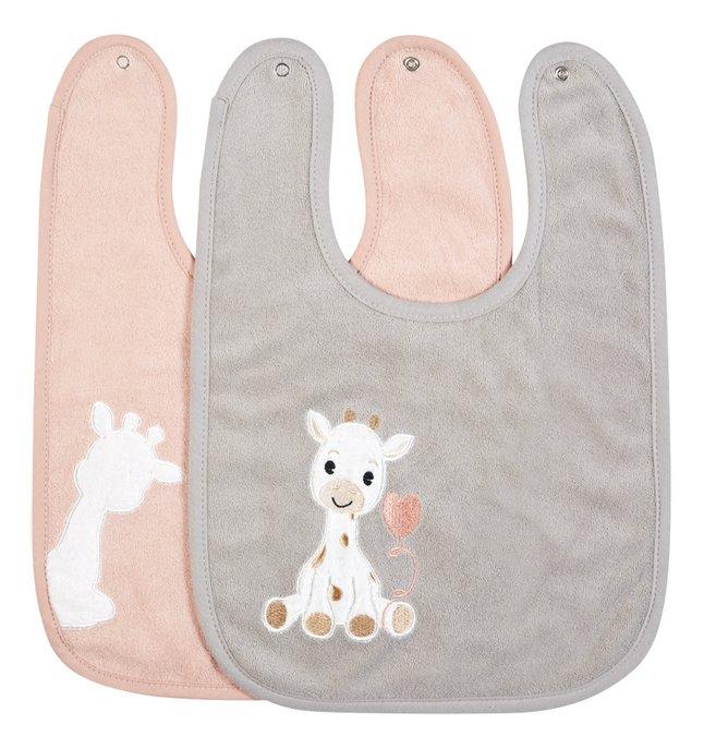Afbeelding van Dreambee Slabbetje Tobi met drukknoppen roze/grijs - 2 stuks from Dreambaby