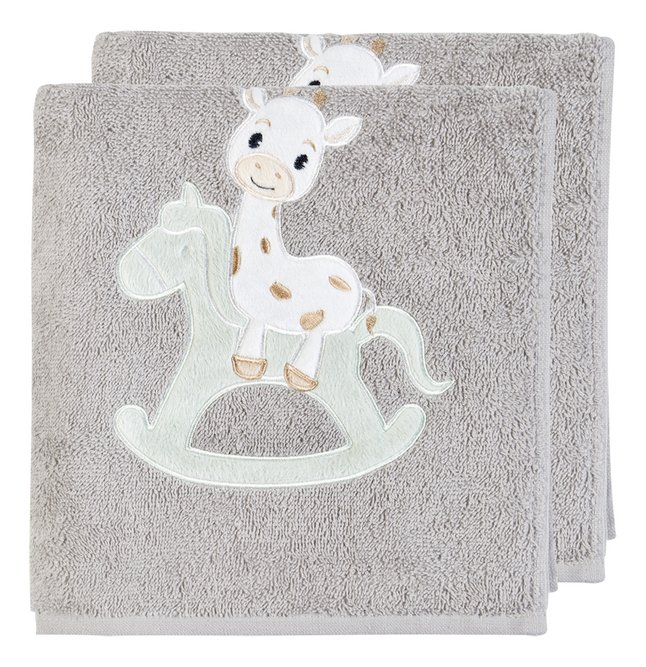 Dreambee Handdoek Tobi grijs B 50 x L 100 cm - 2 stuks