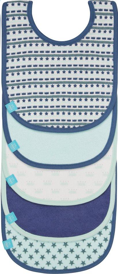 Afbeelding van Lässig Slabbetje Little King & Queen met velcrosluiting blauw - 5 stuks from Dreambaby