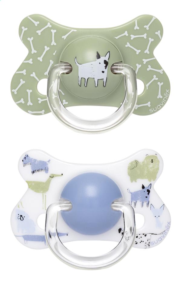 Suavinex Fopspeen + 18 maanden Dogs groen/blauw - 2 stuks