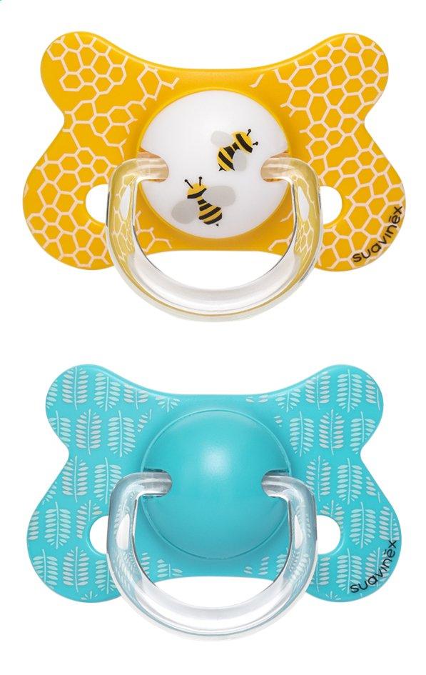 Image pour Suavinex Sucette + 18 mois Fusion Abeille bleu/jaune - 2 pièces à partir de Dreambaby