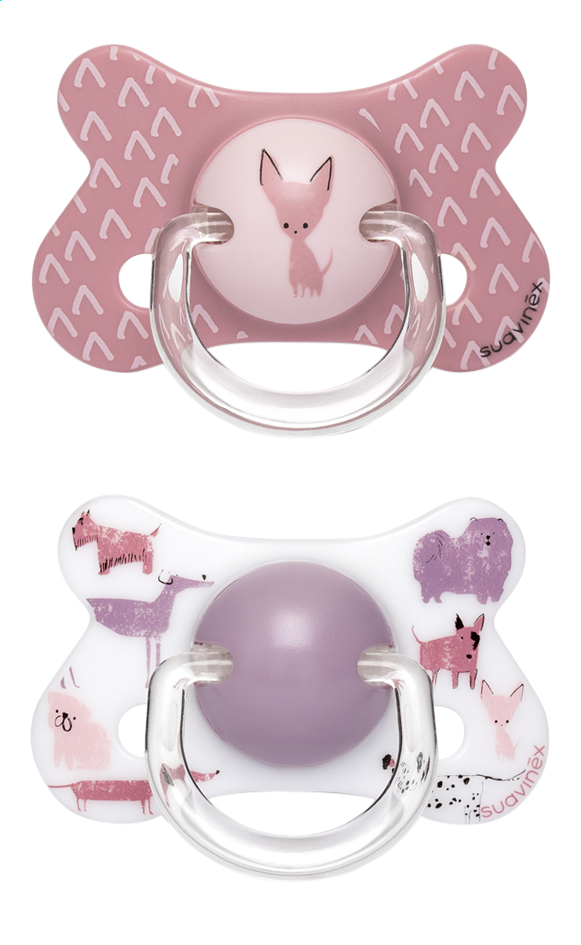 Afbeelding van Suavinex Fopspeen + 18 maanden Fusion Dog roze/koraal - 2 stuks from Dreambaby