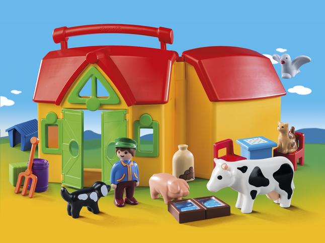 PLAYMOBIL Speelset 1.2.3 Meeneemboerderij met dieren