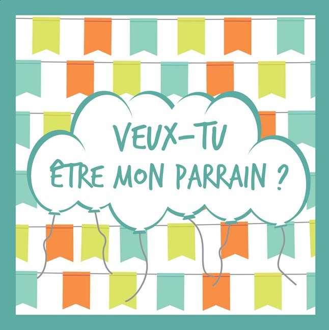 Afbeelding van Minimou Sticker Balloons Veux-tu être mon parrain ? from Dreambaby