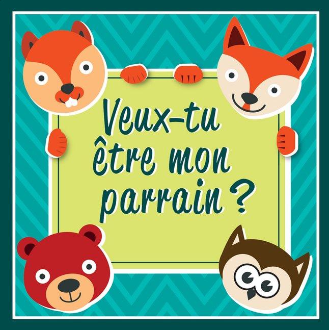 Afbeelding van Minimou Sticker Foxes Veux-tu être mon parrain ? from Dreambaby
