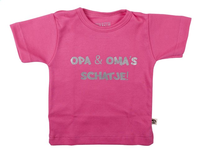 Afbeelding van Wooden Buttons T-shirt met korte mouwen Opa & oma's schatje fuchsia maat 62/68 from Dreambaby