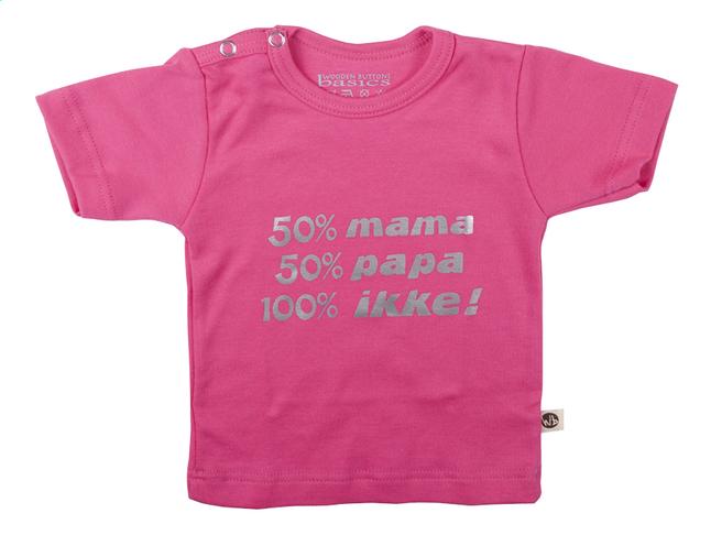 Afbeelding van Wooden Buttons T-shirt met korte mouwen 50% mama 50% papa 100% ikke! fuchsia maat 50/56 from Dreambaby