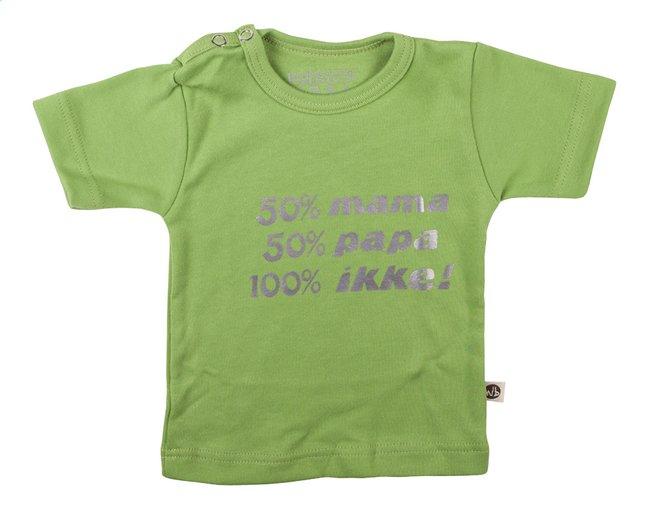 Afbeelding van Wooden Buttons T-shirt met korte mouwen 50% mama 50% papa 100% ikke! lime maat 50/56 from Dreambaby