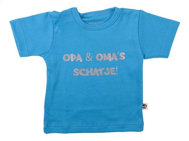 Afbeelding van Wooden Buttons T-shirt met korte mouwen Opa & oma's schatje aqua maat 50/56 from Dreambaby