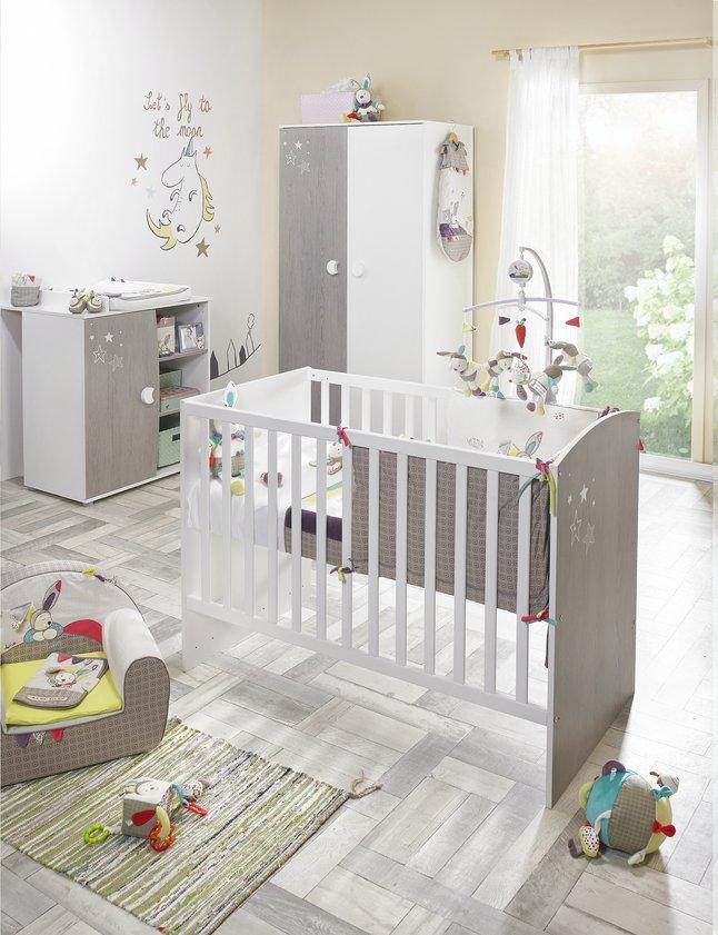 Image pour Sauthon Chambre de bébé 3 pièces avec armoire 2 portes Ana à partir de Dreambaby
