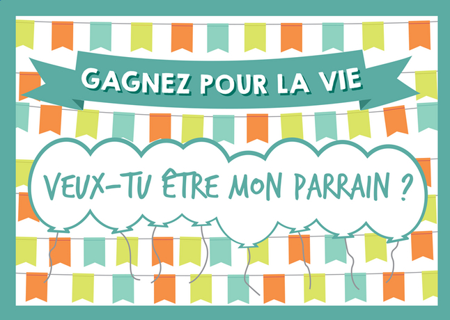 Afbeelding van Minimou Kraskaart Balloons Veux-tu être mon parrain ? from Dreambaby