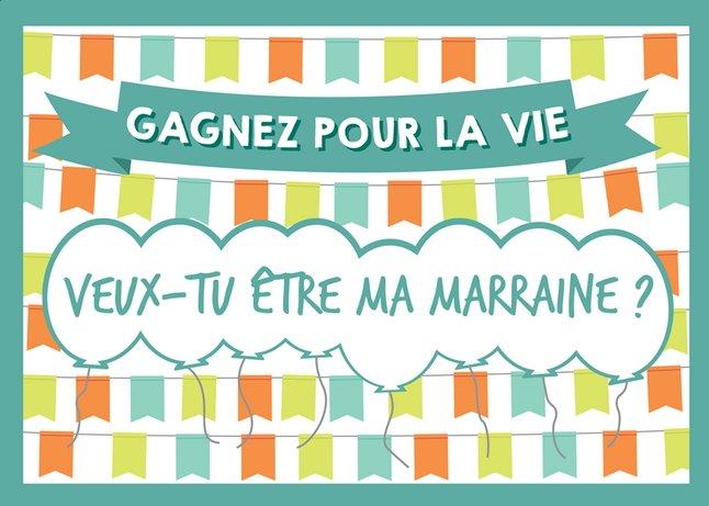 Afbeelding van Minimou Kraskaart Balloons Veux-tu être ma marraine ? from Dreambaby