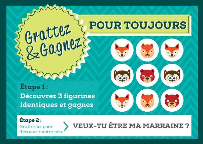 Afbeelding van Minimou Kraskaart Foxes Veux-tu être ma marraine ? from Dreambaby
