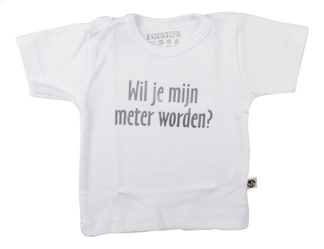 Afbeelding van Wooden Buttons T-shirt met korte mouwen Wil je mijn meter worden? wit from Dreambaby