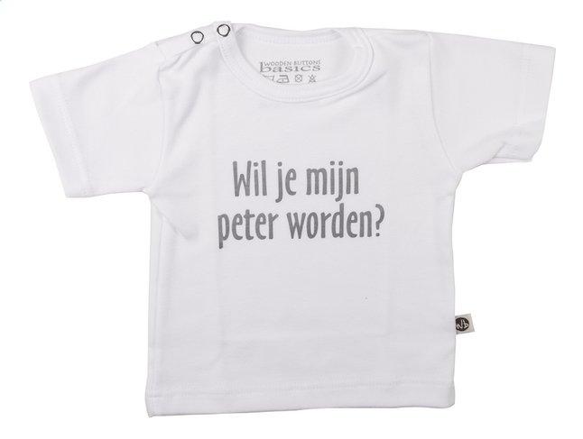 Afbeelding van Wooden Buttons T-shirt met korte mouwen Wil je mijn peter worden? wit maat 50/56 from Dreambaby