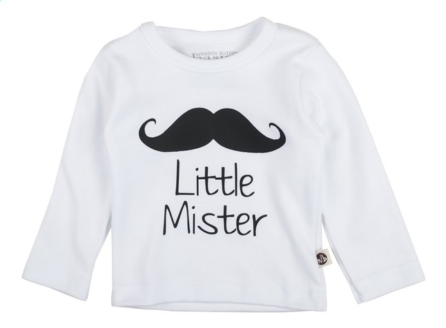 Afbeelding van Wooden Buttons T-shirt met lange mouwen Little Mister wit from Dreambaby