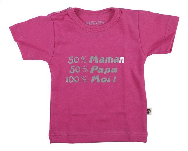 Afbeelding van Wooden Buttons T-shirt met korte mouwen 50% Maman 50% Papa 100% Moi! FR fuchsia maat 50/56 from Dreambaby