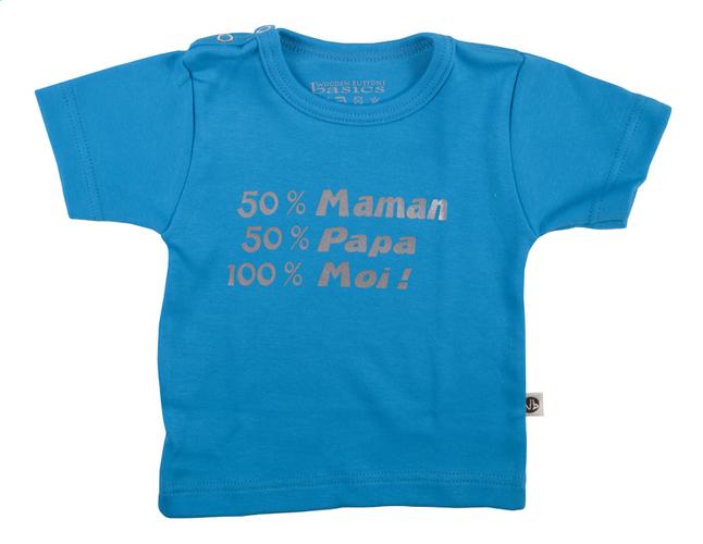 Afbeelding van Wooden Buttons T-shirt met korte mouwen 50% Maman 50% Papa 100% Moi! FR aqua maat 62/68 from Dreambaby