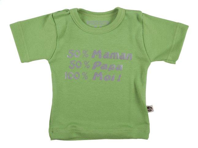Afbeelding van Wooden Buttons T-shirt met korte mouwen 50% Maman 50% Papa 100% Moi! FR lime maat 62/68 from Dreambaby