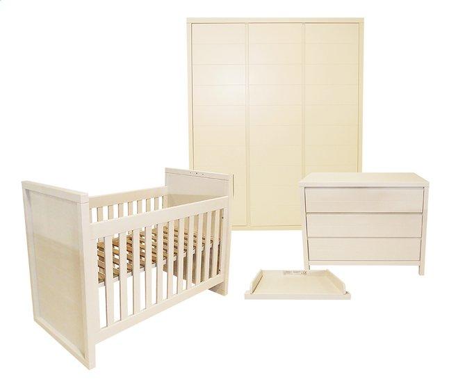 Quax Chambre Evolutive 3 Pieces Avec Armoire 3 Portes Stripes Blanc
