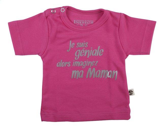 Afbeelding van Wooden Buttons T-shirt met korte mouwen Je suis géniale fuchsia from Dreambaby