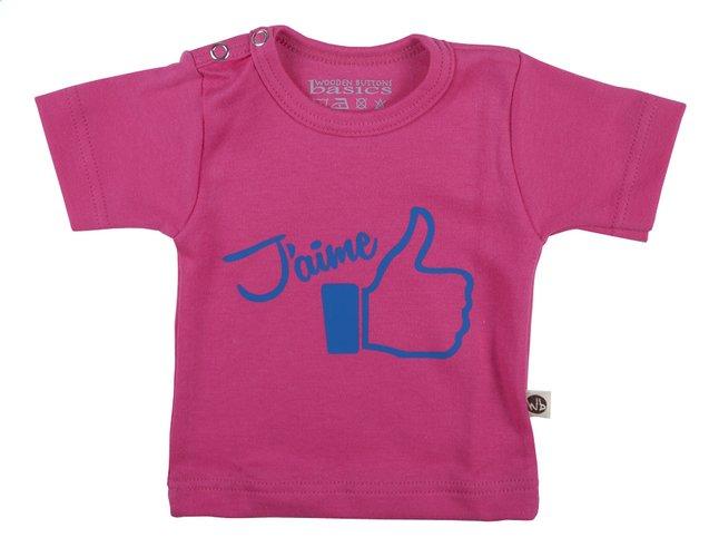 Afbeelding van Wooden Buttons T-shirt met korte mouwen J'aime fuchsia maat 86/92 from Dreambaby