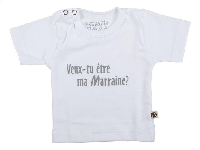 Afbeelding van Wooden Buttons T-shirt met korte mouwen Veux-tu être ma marraine? wit maat 62/68 from Dreambaby