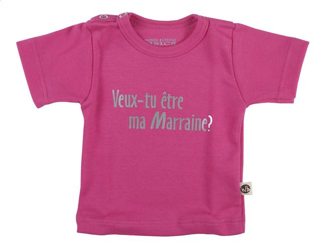 Afbeelding van Wooden Buttons T-shirt met korte mouwen Veux-tu être ma marraine? fuchsia maat 50/56 from Dreambaby