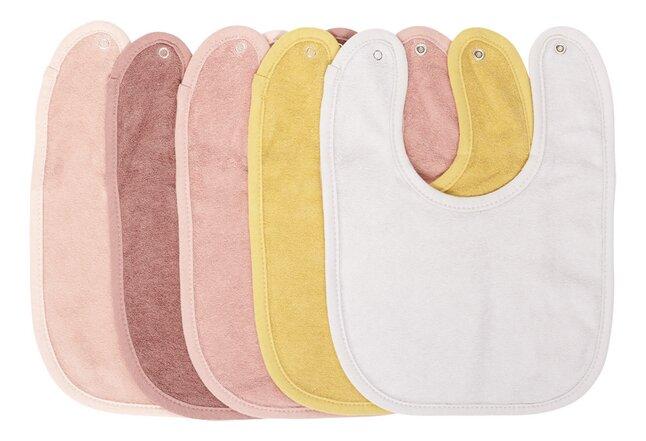 Dreambee Bavoir Essentials à pression rose/blanc/moutarde - 5 pièces