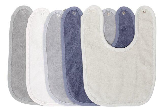 Dreambee Slabbetje Essentials met drukknoppen blauw/grijs/kaki - 5 stuks