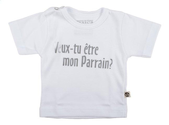 Image pour Wooden Buttons T-shirt à manches courtes Veux-tu être mon parrain? blanc taille 50/56 à partir de Dreambaby
