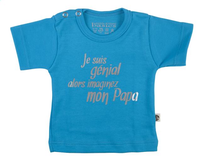 Afbeelding van Wooden Buttons T-shirt met korte mouwen Je suis génial alors imaginez mon papa aqua maat 62/68 from Dreambaby