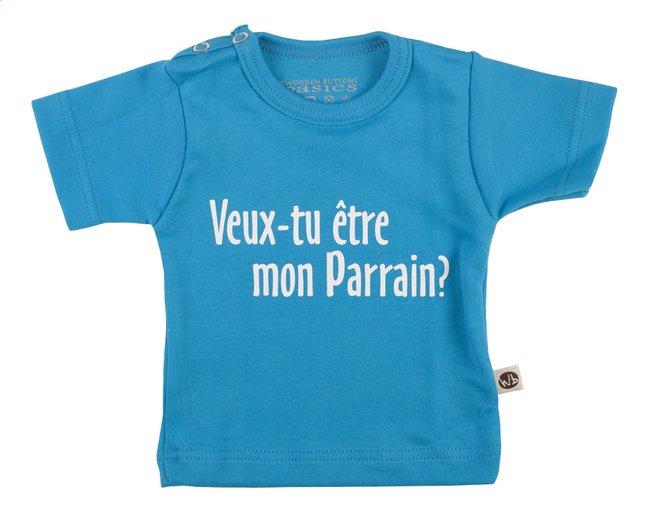 Afbeelding van Wooden Buttons T-shirt met korte mouwen Veux-tu être mon parrain? aqua maat 50/56 from Dreambaby