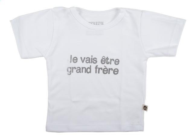 Afbeelding van Wooden Buttons T-shirt met korte mouwen Je vais être grand frère wit maat 74/80 from Dreambaby