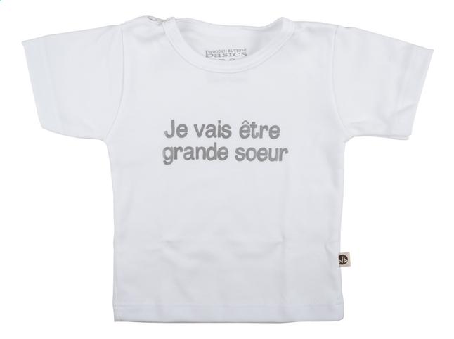 Afbeelding van Wooden Buttons T-shirt met korte mouwen Je vais être grande soeur wit maat 74/80 from Dreambaby