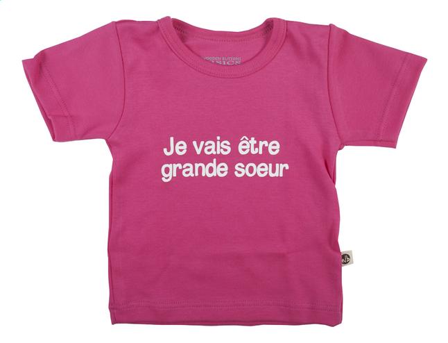 Image pour Wooden Buttons T-shirt à manches courtes Je vais être grand frère fuchsia taille 74/80 à partir de Dreambaby