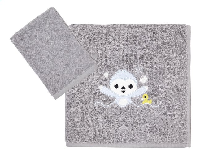 72c350c663e Afbeelding van Dreambee Handdoek + washandje Lila & Lou Lou grijs - 2 stuks  from Dreambaby