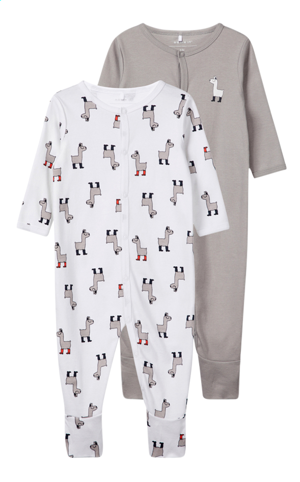 Afbeelding van Name it Pyjama Lama bright white/grey - 2 stuks maat 68 from Dreambaby